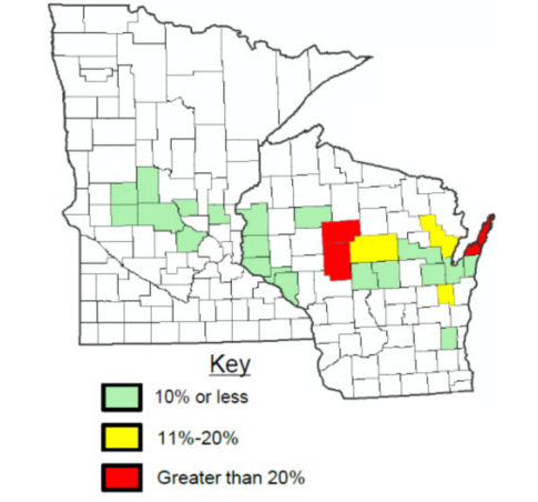 Average estimated % of frost heaving in fields by county in 2017 Alfalfa Assessment.