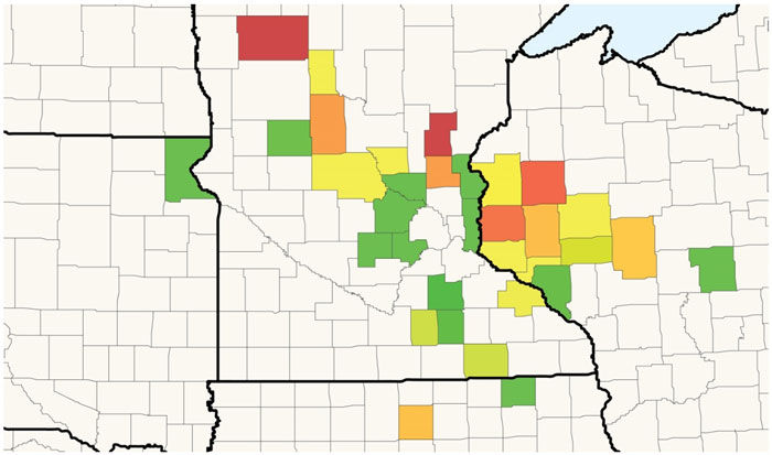Corn stand reduction in surveyed fields associated with stressful emergence conditions.