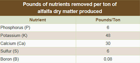 Pounds of nutrients removed per ton of alfalfa dry matter produced