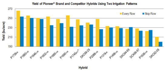 Chart: Yield of Pioneer® Brand and Competitor Hybrids Using Two Irrigation Patterns