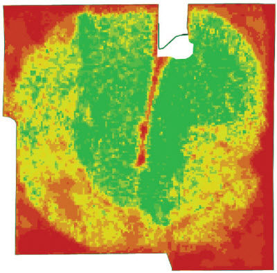 NDVI-Green imagery showing sandy soils under stress.