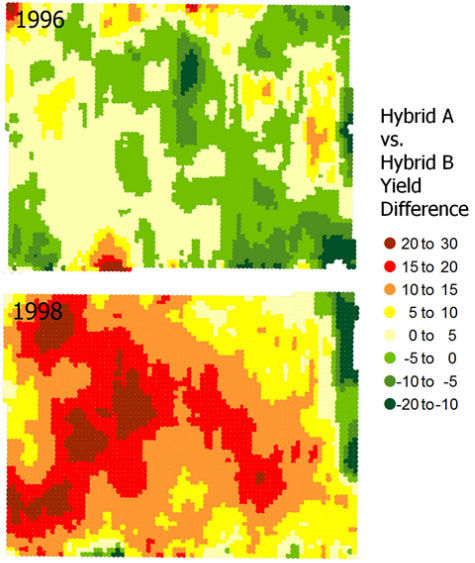 Yield difference maps from a Pioneer split-planter study conducted in northern Illinois in 1996 and 1998, using the same 2 hybrids both years.