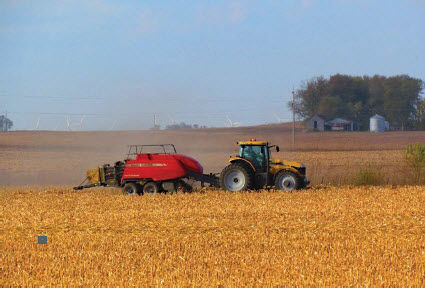 Removing corn stover.
