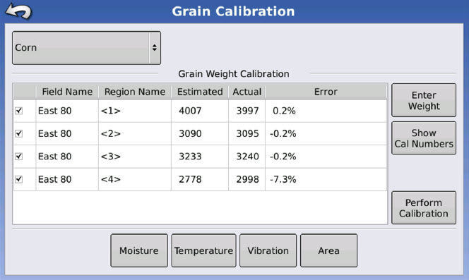 Ag Leader Integra Yield Monitor display.