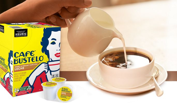 Café Bustelo Sweet & Creamy Café Con Leche K-cups next to a cup of coffee with cream being poured into it