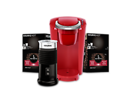 Keurig® K-Compact Bundle (Red) with Milk Frother, Van Houtte® K-Cup® Pods