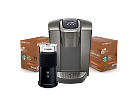 Keurig® K-Elite™ (Brushed Slate) with Milk Frother & Starbucks® K-Cup® Pods