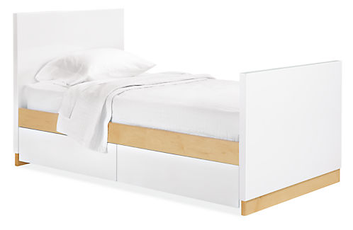 Moda Twin Bed with High Footboard and Two Storage Drawers