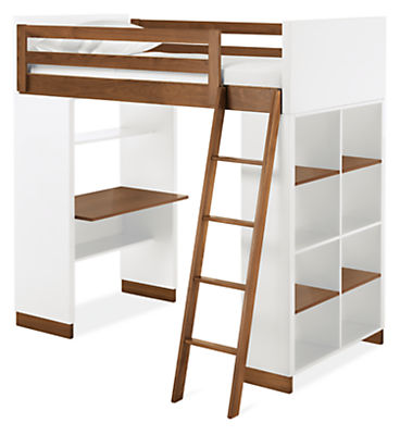 Moda Loft Bed with One End Desk and One Bookcase