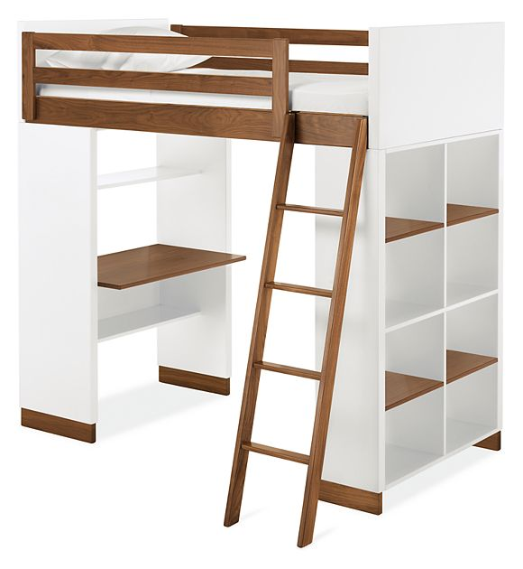Moda Loft Beds with Desk and Bookcase Options - Twin