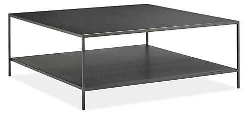 Slim 42w 42d 16h Square Coffee Table With Shelf