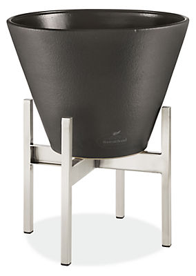 Era 14 diam 10h Cone Graphite Planter with Stainless Steel Stand
