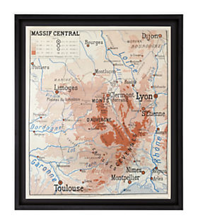 Vintage French School Map - Massif Central