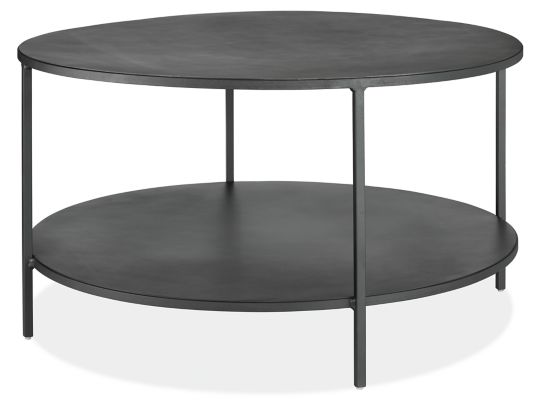 Slim Round Coffee Table in Natural Steel Modern Coffee Tables