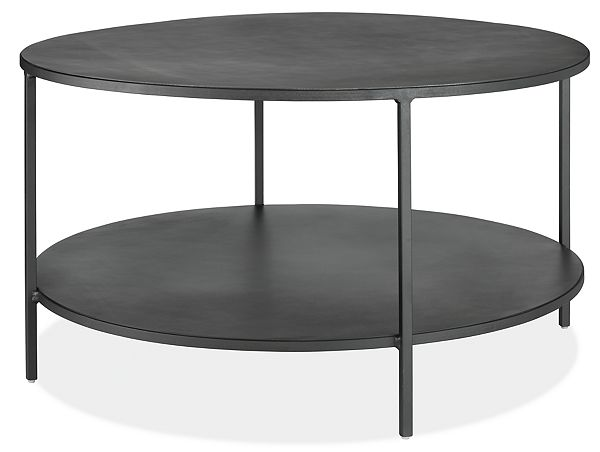 Slim Round Coffee Tables in Natural Steel
