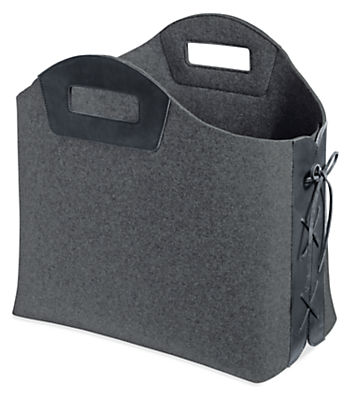 Collette 19w 11d 16h Felt and Leather Storage Basket