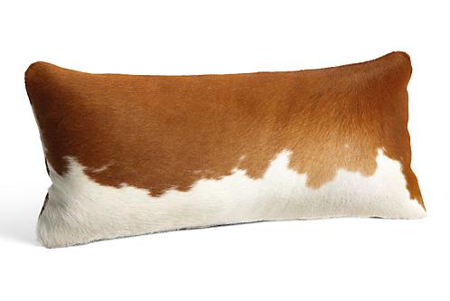 Natural Cowhide 24w 12h Throw Pillow