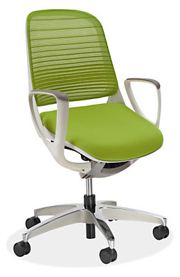 Green Desk Chairs luce office chair in white - modern office chairs & task chairs