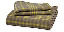 Washable Wool Full/Queen Blanket in Taupe/Pear Plaid