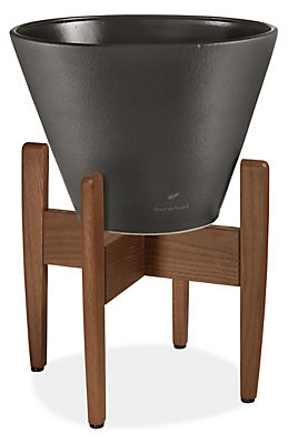 Era 14 diam 10h Cone Graphite Planter with Wood Stand