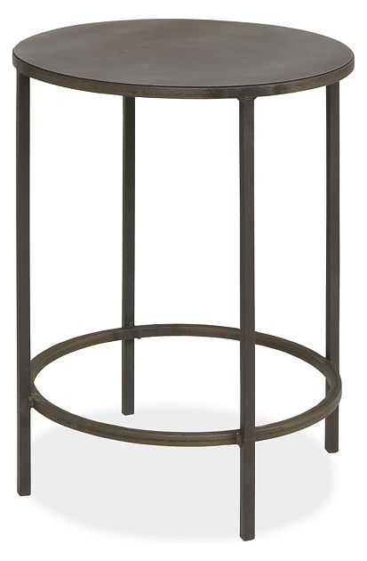 Slim Round End Tables in Natural Steel