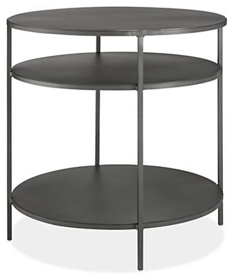Slim 25 diam 24h Round End Table with Shelves
