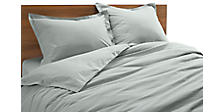 Quilted Percale Full Bedding Ensemble in Slate