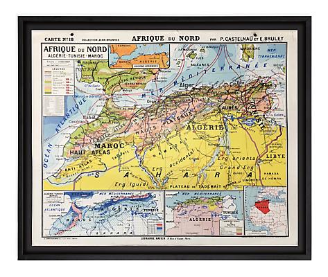 Vintage French School Map - Afrique du Nord