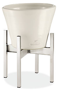 Era 10 diam 8h Cone White Planter with Stainless Steel Stand