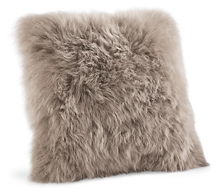 pillow luxe in taupe scenario sheepskin home sizes products pillows premium