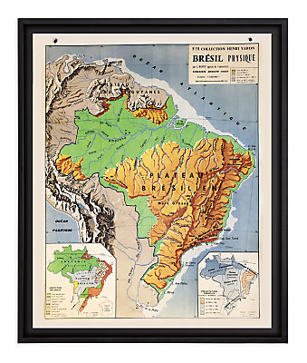 Vintage French School Map - Br�sil Physique