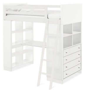 Moda Loft Bed with Middle Desk, One Bookcase and One Four-Drawer Dresser