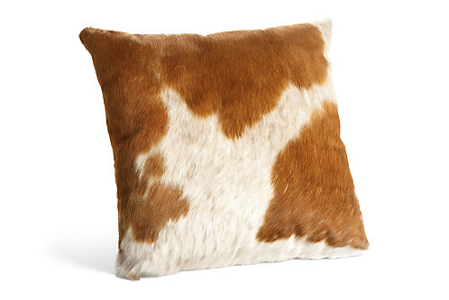 Natural Cowhide 21w 21h Throw Pillow