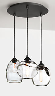 Glow Mixed  Pendants with Round Ceiling Plate - Set of Three