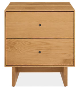Hudson 20w 20d 22h Two-Drawer Nightstand with Wood Base