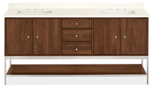 Linear 72w 21.75d 34h Vanity Cabinet w/Shelf / Left & Right Overhang
