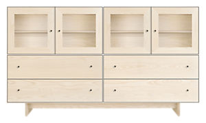 Hudson 86w 20d 50h Storage Cabinet with Wood Base