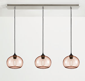 Sky Pendants with Rectangle Ceiling Plate - Set of Three
