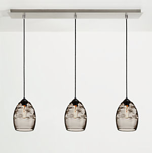 Glow Cone Pendants with Rectangle Ceiling Plate - Set of Three