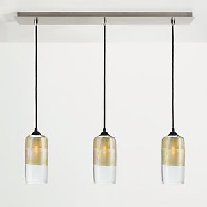 Luster Pendants with Rectangle Ceiling Plate - Set of Three