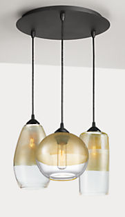 Luster Pendants with Round Ceiling Plate - Set of Three