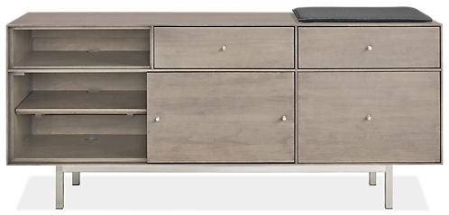 Hudson 60w 16.5d 24.5h Right-File Drawer Bench with Cushion and Steel Base