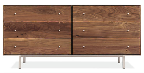Hudson 60w 20d 28h Six-Drawer Dresser with Steel Base