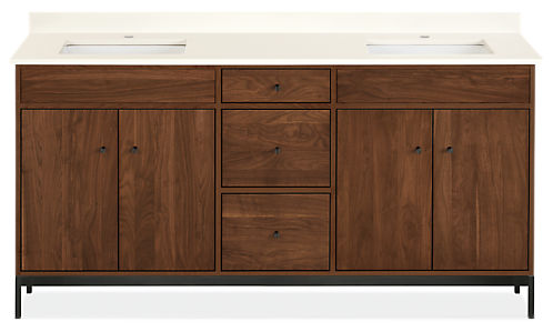 Linear 72w 21.75d 34h Bathroom Vanity with Left & Right Overhang & Steel Base