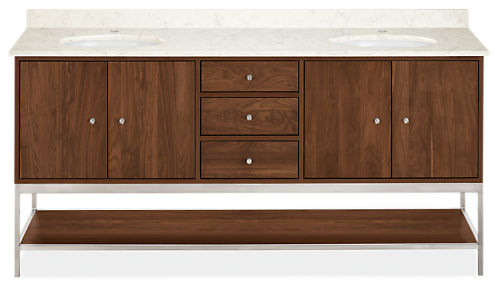 Linear 72w 21.75d 34h Vanity Cabinet w/Shelf / Left & Right Overhang