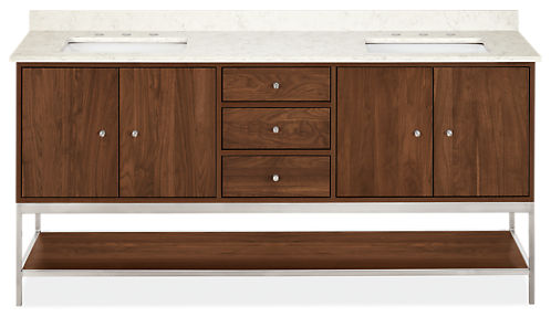 Linear 72w 21.75d 34h Bathroom Vanity with Left & Right Overhang and Steel Base