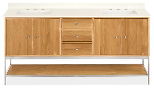 Linear 72w 21.75d 34h Vanity Cabinet w/Shelf / Left & Right Overhang/ Steel Base