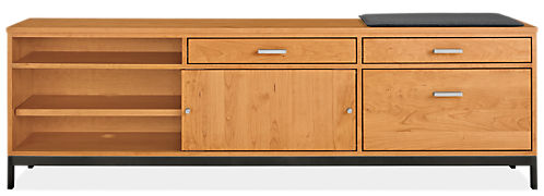 Linear 80.25w 16d 24.5h Right-File Drawer Bench with Cushion