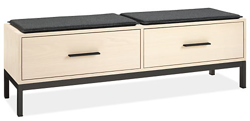 Alden 60w 16d 18h Two-Drawer Bench with Two Cushions