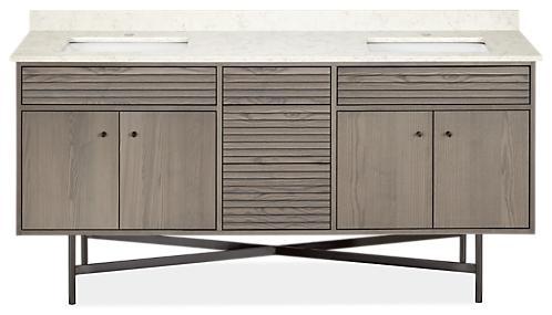 Adrian 72w 21.75d 34h Bathroom Vanity with Left & Right Side Overhang